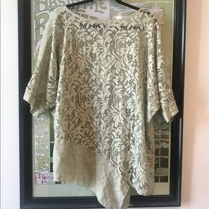 Tops - Asymmetrical Linen and Lace Blouse